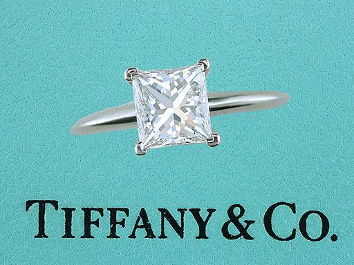 Tiffany & Co. 1.52ct F-VVS2 Princess Diamond Solitaire Platinum Engagement Ring $13,750