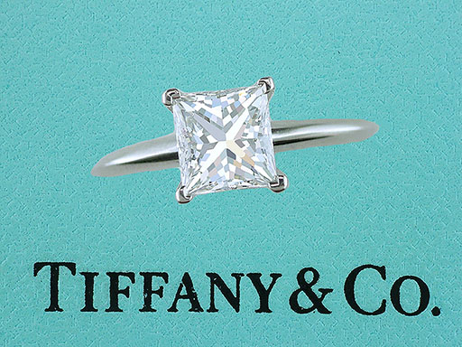 Tiffany & Co. 1.52ct F-VVS2 Princess Diamond Solitaire Platinum Engagement Ring $13,750