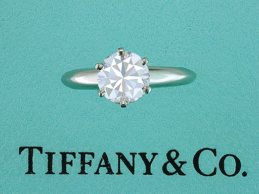 Tiffany & Co. Certified 1.29ct F-VS1 Diamond Solitaire Platinum Engagement Ring $14,850