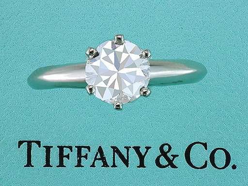 Tiffany & Co. Engagement Ring Diamond Solitaire Platinum 1.00ct H-VS1 XXX $7,950