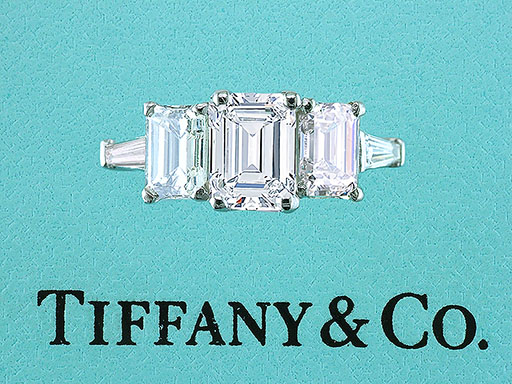 Tiffany & Co Engagement Ring 3 Stone Emerald Cut with Baguettes 2.78cttw E-VVS1 $18,650