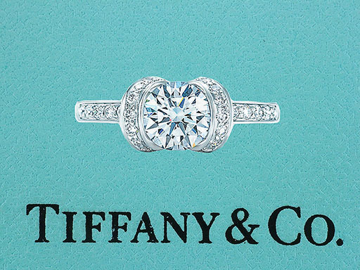 Tiffany & Co. Ribbon Engagement Ring Diamond 1.02cttw H-VS1 XXX Platinum $6,450