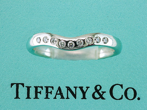Tiffany & Co Diamond Elsa Peretti Platinum Wedding/Anniversary Ring Band .10cts $985