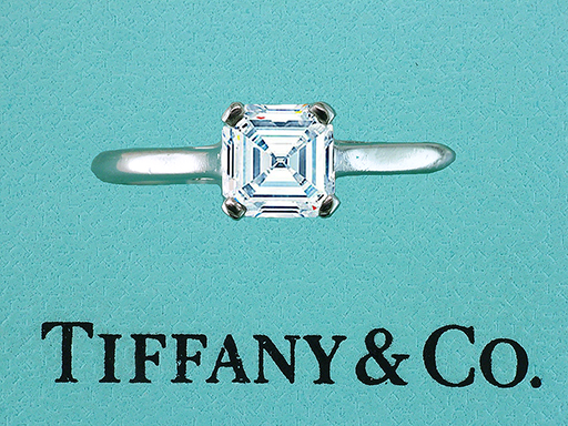 Tiffany & Co Engagement Ring Square Emerald Cut .77ct  E-VVS Diamond Solitaire $4,950