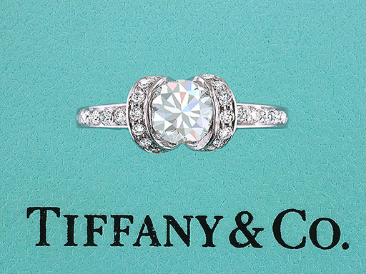 Tiffany & Co. Ribbon Engagement Ring Diamond Platinum .87cttw E-VS1 $3,550