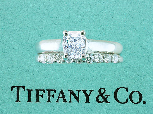 Tiffany & Co Lucida Engagement Ring .84ct and Tiffany Embrace .27ct Diamond Band $6,200