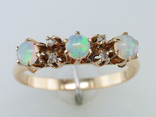 Antique Opal Diamond Cocktail Ring 14K Yellow Gold Victorian Vintage $465