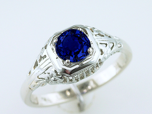 Vintage Sapphire Engagement Ring .80ct 14K Art Deco Antique Statement Ring $785