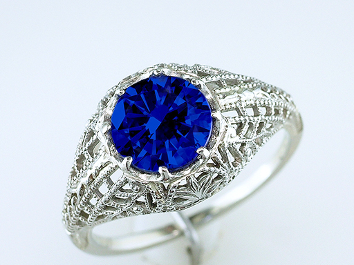 Vintage Sapphire Engagement Ring 1.50 18K Solitaire Art Deco Antique $1,485