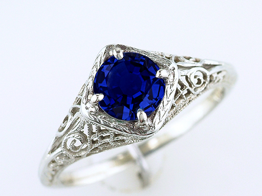 Vintage Sapphire Engagement Ring 1 Carat Solitaire 18K Art Deco Antique $985