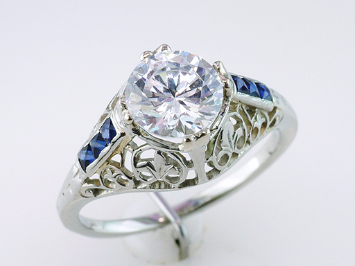 Antique Sapphire Semi-Mount Engagement Ring 18K French Cut Art Deco Vintage $1,285
