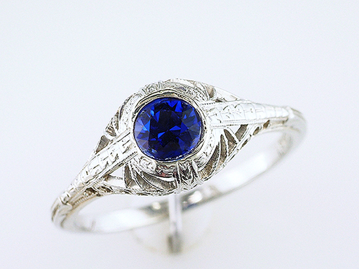 Vintage Antique Sapphire Engagement Ring .50ct 18K Deco $685
