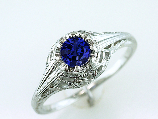 Vintage Sapphire Engagement Ring .60ct 18K Gold Art Deco Antique Statement Ring $1,185