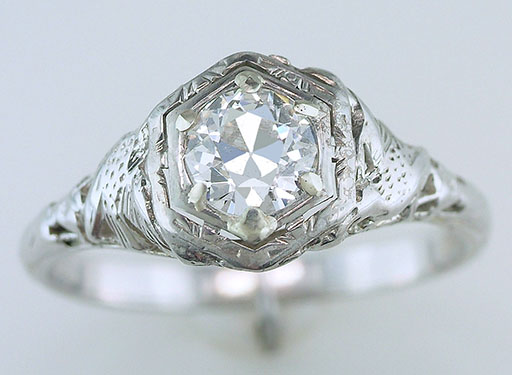 Antique Diamond Engagement Ring Love Bird GIA .59ct 18K Art Deco Vintage $2,950