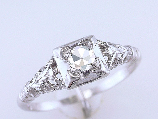 Vintage Diamond Engagement Ring Old European Cut .20ct Platinum Art Deco Antique $585