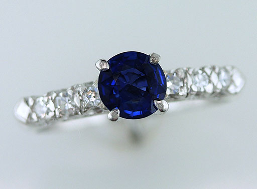 Antique Sapphire & Diamond Engagement Ring .90ct Platinum Art Deco Vintage $685