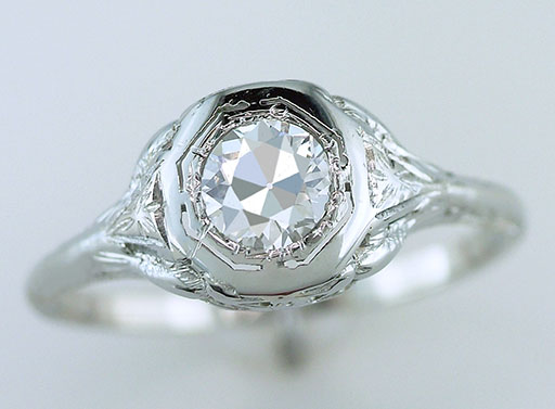 Antique Diamond Engagement Ring GIA Certified .54ct 18K Love Bird Deco Vintage $2,950
