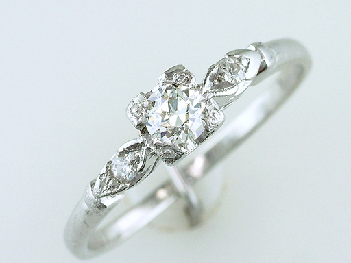 Vintage Diamond Engagement Ring .31ct Platinum Antique Art Deco $585
