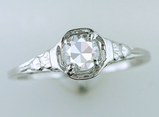 Antique Diamond Engagement Ring  GIA Certified .44ct 18K White Gold Deco Vintage $1,085