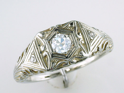 Antique Vintage Diamond Engagement Ring Old European .22ct 18K Gold Deco $585