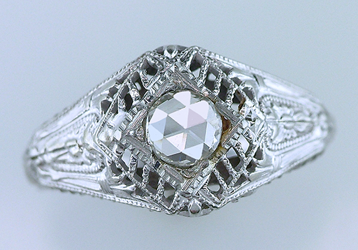 Vintage Antique Diamond Engagement Ring  .26ct Rose Cut 18K White Gold Art Deco $785