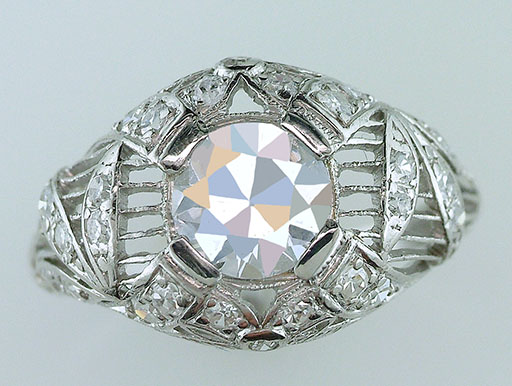 Antique Diamond Engagement Ring GIA Certified 1.50ct G VS2 Platinum Deco Vintage $9,840