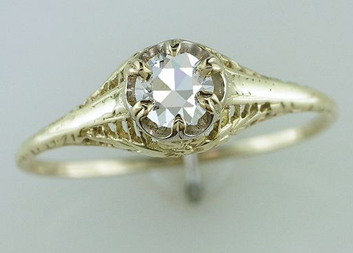 Vintage Diamond Engagement Ring GIA Certified .46ct 14K Art Deco  Antique $1,185