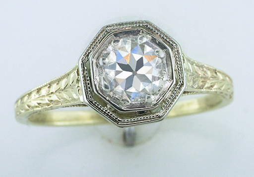 Antique Diamond Engagement Ring EGL Certified .70ct 14K Yellow Gold Deco Vintage $1,250