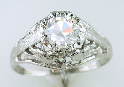 Antique Diamond Engagement Ring Love Bird GIA .99ct 18K Art Deco Vintage $3,950