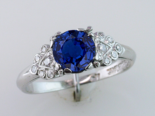 Antique Sapphire Diamond Engagement Ring 1.15ct Platinum Art Deco Vintage $1,185