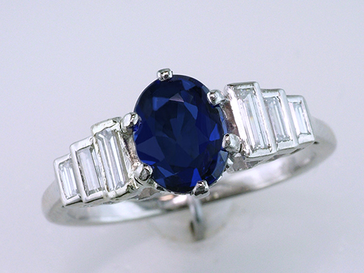 Sapphire Engagement Ring Vintage 1.77ct Oval Sapphire Diamond Plat Art Deco Ring $2,950