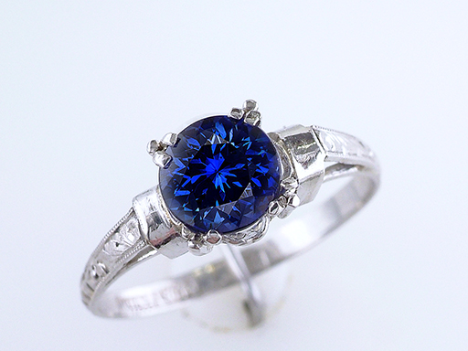 Vintage Sapphire Engagement Ring Solitaire 1.00ct Platinum Antique Art Deco $1,185