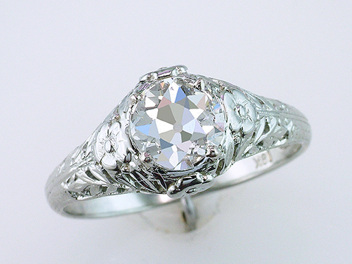 Vintage Diamond Engagement Ring GIA Certified .98ct J-SI1 18k Antique Art Deco $5,900
