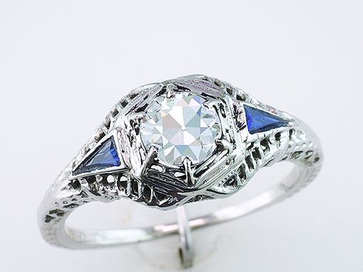 Vintage Diamond & French Cut Sapphires Engagement Ring GIA .69ct 18K Antique $2,645