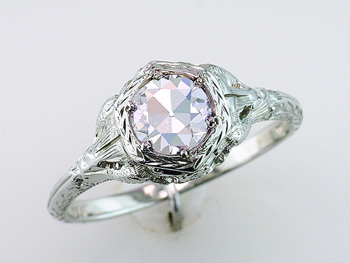 Vintage Diamond Engagement Ring Love Bird GIA .68ct H/VS1 Ideal Cut Deco 18K $3,450