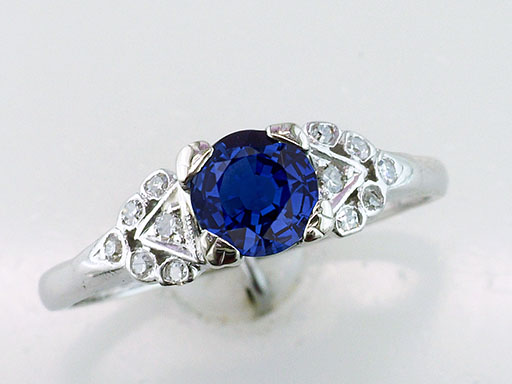 Vintage Sapphire & Diamond Engagement Ring .86ct Antique Art Deco Ring 14K $685