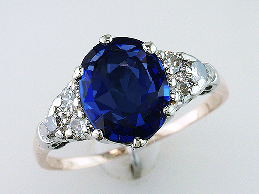 Vintage Diamond Sapphire Engagement Ring 2.75ct Gold Antique Art Deco $3,950