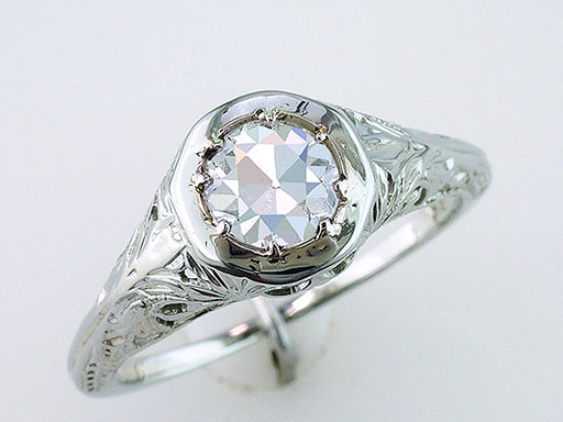 Vintage Diamond Engagement Ring .58ct GIA Certified J-SI2 18K Antique Art Deco $1,845