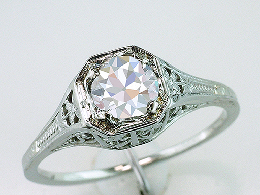 Vintage Diamond Engagement Ring .64ct GIA Certified J-SI1 18K Antique Art Deco $2,585
