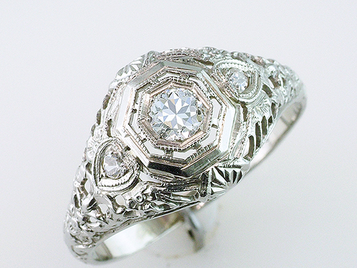 Vintage Diamond Engagement Ring .18ct White Gold 18K Art Deco Antique $685