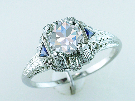 Vintage Diamond Sapphire Engagement Ring French Cut GIA 1.15ct 18K Deco Antique $6,900