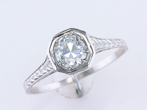Vintage Diamond Engagement Ring EGL Certified .52ct Platinum Art Deco Antique $1,285