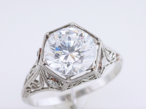 Vintage Diamond Semi Mount Engagement Ring Mint 8mm Platinum Art Deco Antique $1,985