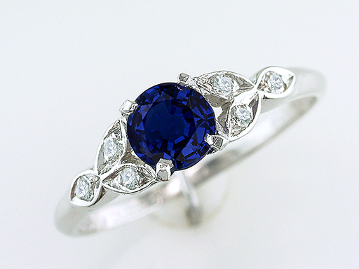 Vintage Antique Sapphire Diamond Engagement Ring 1.12ct Platinum Art Deco $1,185