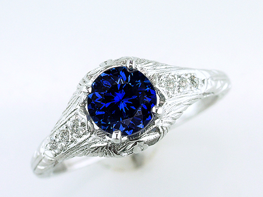 Vintage Sapphire Diamond Engagement Ring 1.32ct Platinum Art Deco Antique $1,185