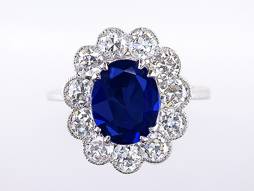 Vintage Diamond Sapphire Engagement Ring 6.91ct GIA Princess Di Antique Ring $19,600