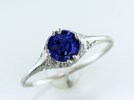 Vintage Sapphire Engagement Ring 1 Carat Solitaire 18K Art Deco Antique $585