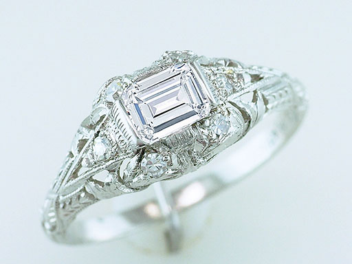 Vintage Engagement Ring .57ct Diamond Platinum Art Deco GIA Certified Antique $1,385