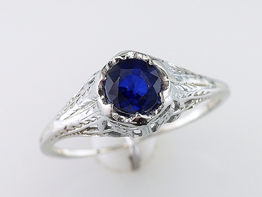 Vintage Sapphire Engagement Ring Belais Brothers .65ct 18K Antique Art Deco $985