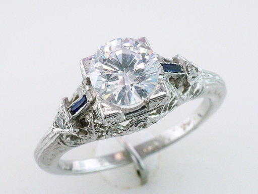 Antique Diamond Sapphire  Semi-Mount Engagement Ring Platinum Art Deco Vintage $1,985